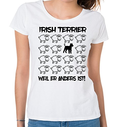 Siviwonder WOMEN T-Shirt BLACK SHEEP - IRISH TERRIER - Hunde Fun Schaf Weiß