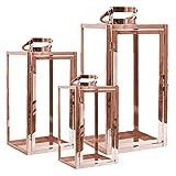 Mojawo® XXL Set di 3 Lanterne da Giardino in Acciaio Inox portacandela Antivento Lanterna in Vetro 30/40/53 cm rosé Gold