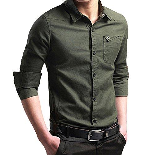 Zycshang abbigliamento uomo camicie classiche, morbida maniche lunghe camicie casual lino bambù fibra camicia miscela di cotone casual,slim fit, manica lunga casual/formale, m, l, xl, xxl,xxxl