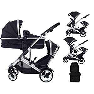 Kids Kargo Duel DS + Carrycot Liner/Mattress Insect net Carrycot Converts to Seat Unit. Also Includes 2 Raincovers (pushchair seats), 1 footmuff, 1 changing bag, 1 maxi cosi adapter set, 1 car seat hood, 1 rain cover (car seat) Midnight Black, Double Tandem Pushchair Babystyle Multi position, Lie-Flat Seat Unit Ventilated Pram Body Compatible with any BabyStyle Prestige 2 Chassis (Sold separately) 5