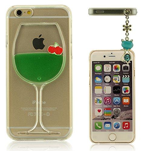 iPhone 6 Plus (5.5 Zoll) Hülle Handyhülle, Weinglas Form Case Cover für iPhone 6S Plus, Polychrome Flüssigkeit, Hohe Transparenz Kristall Klar iPhone 6 Plus / iPhone 6S Plus (5.5 Zoll) Schutzhülle + H Grün