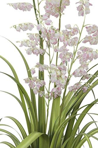 artplants – Künstliche Glockenblume mit Schilfgras, 5 Blüten-Rispen, Rose, 105 cm – Künstliches Gras/Kunstblumen