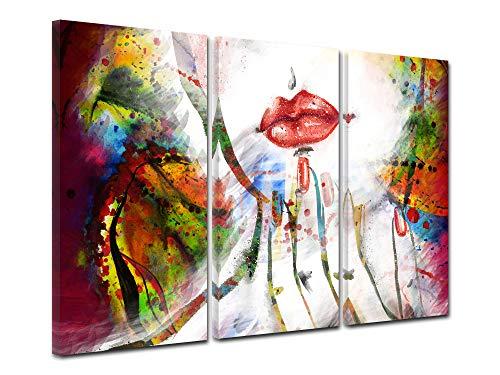 Kollektion Lip Palette (Declina, dekorative Leinwand, Wandbild, Wohnzimmer-Deko, 3ptychon Moderne Lips 90 x 60 cm, Mehrfarbig, Leinen, Mehrfarbig, 120x80 cm)