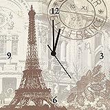 Artland Analoge Wand-Funk-oder Quarz-Uhr Digital-Druck Leinwand auf Holz-Rahmen gespannt mit Motiv W. L. Paris Collage Architektur Gebäude Sehenswürdigkeiten Digitale Kunst Creme A6NW