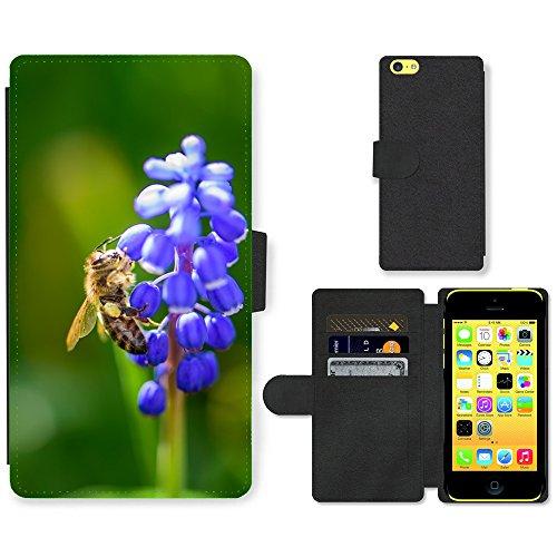 Just Mobile pour Hot Style Téléphone portable étui portefeuille en cuir PU avec fente pour carte//m00138513insectes Bee Fleur Violet fermeture//Apple iPhone 5C
