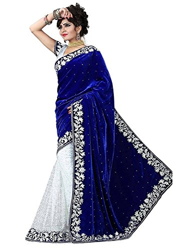 Lovisa Fashion Women\'s Velvet & Net Saree (LL11_Blue_Free Size)