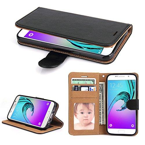 Galleria fotografica Cover Galaxy A3 2016, SOWOKO Custodia Portafoglio in Pelle con Chiusura Magnetica/ Supporto/ Porta Carte per Samsung Galaxy A3 (2016), Nero