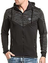 BLZ jeans - Gilet sweat zippé noir à capuche homme