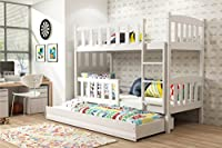 VIKA 3 ft Triple Bunk bed CUBA with mattresses. Pine wood made .many frame colours