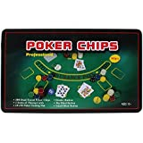 Casino Poker Set With 300 Poker Chips, Playing Cards, Gaming Mat In Tin Box