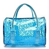 Lucky Will Damen Frauen Sommer Klare Transparente Handtasche Strandtasche Badetasche Durchsichtig Taschen blau