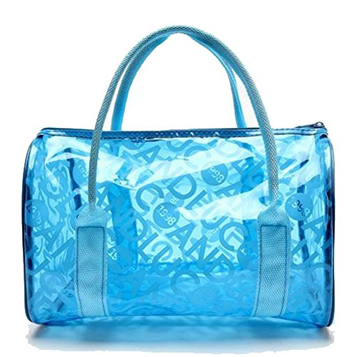 Qiansheng Fashion Portable Jelly colorati pois estivo da spiaggia in PVC trasparente borse borsetta nuoto impermeabile fitness sport lavaggio borsa con cerniera per donne, Orange, taglia unica Blue
