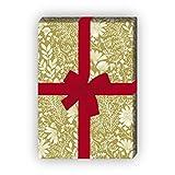 Zartes Blumen Geschenkpapier mit Wiesen Blüten auch zur Hochzeit, Taufe, oliv grün, für tolle Geschenk Verpackung und Überraschungen (4 Bogen, 32 x 48cm) Dekorpapier, Papier zum Einpacken