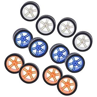Almencla 6 para / 12 Stücke Weiß Blau Orange Gummiräder Reifen Auto LKW Modell Toys Räder 65x27mm Abs Reifen Für Tt Motor Auto Machen Kinder Fahrzeuge Spielzeu