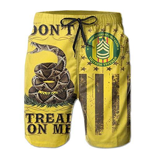 Don't Tread On Me Flag US Army Sergeant First Class Vietnam Veteran Men's Beach Shorts Swim Trunks - Swimsuit Athletic Shorts XL Capezio Capris