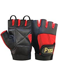 PRIME WEIGHT LIFTING PADDED BODY BUILDING WHEEL CHAIR TRAINING GYM LEATHER GLOVES LARGE (RED L) 305