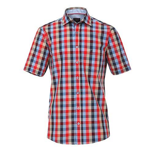 XXL CasaModa Kurzarmhemd rot-blau-beige groß kariert Mehrfarbig