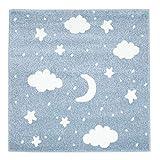 Kinder-Zimmer-Teppich mit Herz Sterne Wolken Anker Designs | rund oder rechteckig | Ideal für Jungen, Mädchen oder im Baby-Zimmer | Ökotex Zertifiziert (Mond Sterne Blau, 120 cm rund)