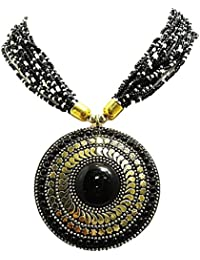 Muccasacra Forever Top Most Shiny Black Stone Hand Crafted Medallion Brass Necklace