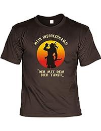 T-Shirt Funshirt - Mein Indianername - Der mit dem Bier Tanzt - Geschenk mit Urkunde mit Alkohol Humor - Farbe: braun
