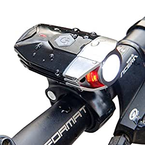 Sunspeed LED Front Bike Light - USB Rechargeable & Super Bright Cycle Headlight- 4 Light Modes 300 Lumens - Quick Install and Release
