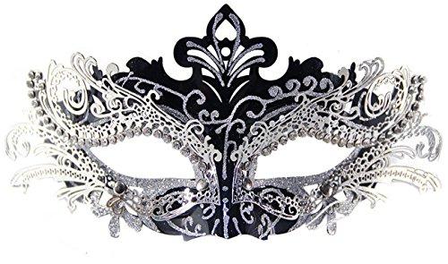 Coxeer Damen Maskerade Maske Schmetterling Form Laser Schneiden Metall Karneval Maske Rosenmontag (Black & ()