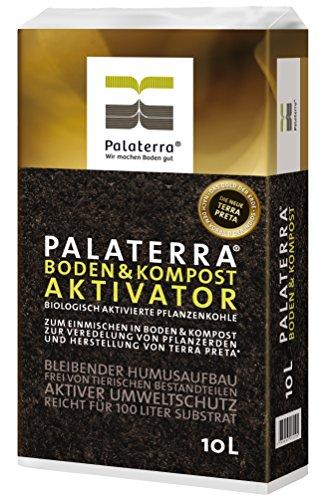 Palaterra® Boden&Kompost Aktivator (Konzentrat), 2 x 10 Liter biologisch aktivierte Pflanzenkohle (Biokohle) zur Herstellung von Terra Preta Schwarzerde sowie zur Veredlung von Pflanzerden und Kompost