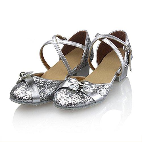 Lateinischen Kinderschuhe, Schuhe Gesellschaftstanz Schuhe Frauen tanzen Gesellschaftstanz Damenschuhe Silver sequin