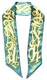 Franck Muller Schmaler Seidenschal 90 x 6cm in türkiser Seide mit Uhrenziffern scarve