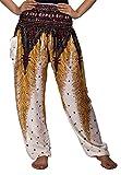 Lofbaz Damen Haremshose mit gesmoktem Buntes Pfauenmuster 1 Weiß S