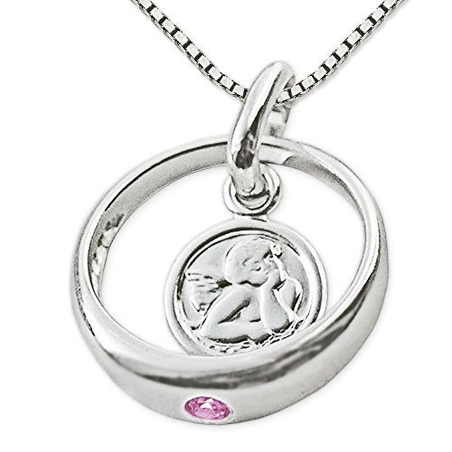 CLEVER SCHMUCK-SET Silberner Taufring Ø 12 mm Engel rund mit Zirkonia rosa und Kette Venezia 36 cm glänzend STERLING SILBER 925 für Mädchen
