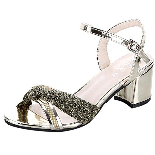 Hunpta Frauen Mode Sommer Mid Heel Flip Flop Sandalen Slipper Böhmen Schuhe Gold