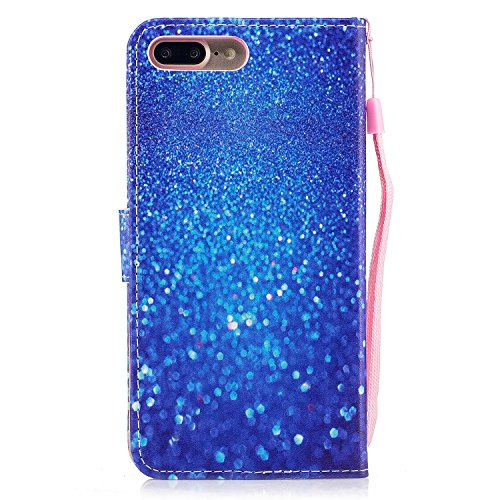 Linvei Hülle für Apple iPhone 7 Plus(5.5 Zoll) -Blumen muster Design/ TPU Silikon Backcover Case Handy Schutzhülle -Pflaumenblütenentwurf Schönes blaues Sandmuster