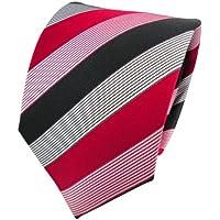 TigerTie Cravatta in seta - rosso-fuoco nero bianco striato - Cravatta in seta