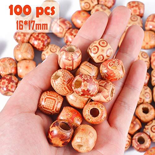 Große Holzperlen Haarperlen mit Perlen Einfädler, DIY Basteln Dreadlocks Dreads Holz Perlen Kugeln 7mm Loch Rund von SOSMAR ()