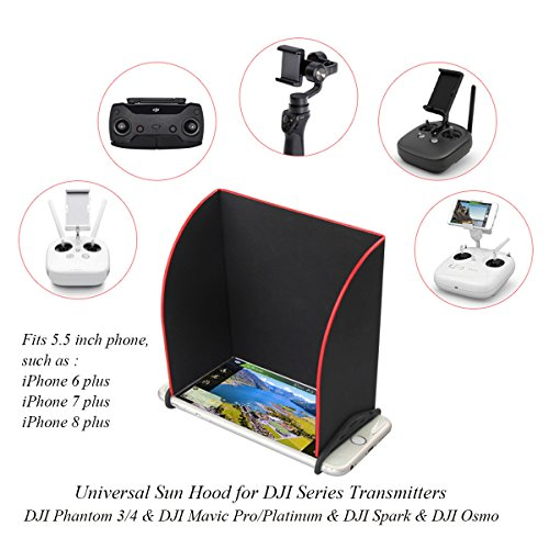 Remote Controller Monitor Hood Sun Shade for DJI Mavic Pro DJI Spark DJI Osmo and DJI Phantom 3 / 4 Whole Series Transmitter Universal Accessories,5.5inches fits iPhone 6 Plus / 7 Plus / 8 plus