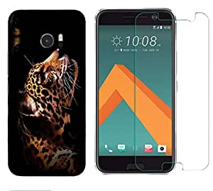 Snoogg Leopard Combo Designer Protective Back & Shatter Proof Tempered Glass For HTC DESIRE 10 LIFESTYLE