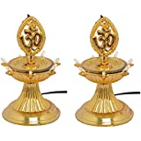 KERWA Premium 1 Layer New Electric Gold LED Bulb Lights Diya/Deep/Deepak For Pooja/Puja/Mandir Diwali Festival Decoration || (Pack Of 2) || S-03