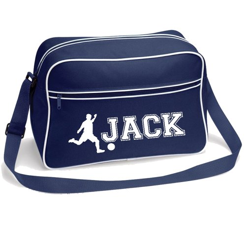 iClobber Football Bag Personalised Name Soccer Birthday Gift School College Gym - Navy