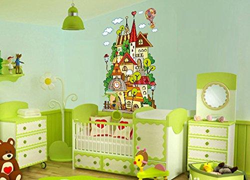 ufengke® Castillo de Cuento de Hadas de Dibujos Animados Pegatinas de Pared, Vivero Habitación de los Niños Removible Etiquetas de la pared / Murales