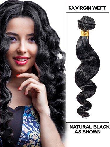 Mixte Longueur 35,6 cm 40,6 cm 45,7 cm vierges brésiliens 3 lots de cheveux humains, perte Wave, 240 g au total, véritable 6 Un tissage de cheveux humains naturels non traités, brut naturel couleur Noir