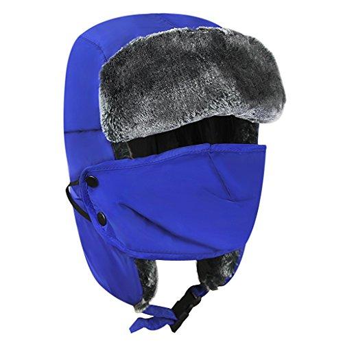 Kid Trapper Hat Children Winter Bomber Hat with Earflap Girl Boy Russion Trooper Pilot Aviator Hat Detachable Face Mouth Mask Fleece Waterproof Ski Cap Adjustable Windproof Outdoor Headwear Aged 5-10Y