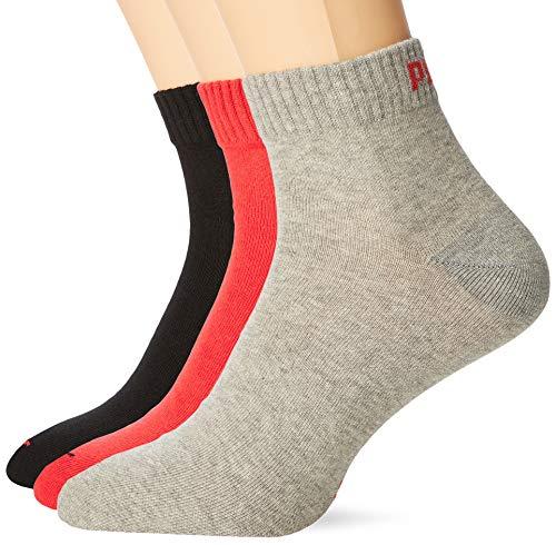 PUMA Unisex Plain 3P Quarter Socke, Mehrfarbig (Black/Red), 39-42