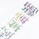 WRITIME Washi Klebeband Masking Tape 10 Cm X 5M/Breite/Blume Mädchen Englisch Englisch Farbe gemischt Spell Allmählich Blühende Buchstaben Buchhaltung Dekoration und Papierband, täglich kleine In der Tat zum Glück
