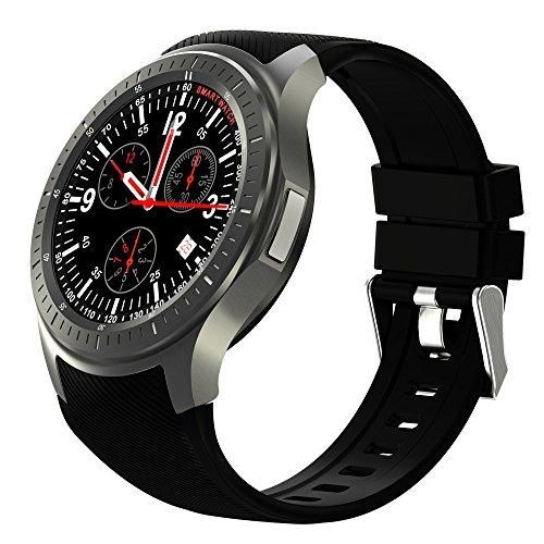 Wilabuda Reloj Inteligente a Prueba de Agua dial Redondo WiFi Ritmo de frecuencia cardíaca monitoreo GPS Bluetooth Deportes Pulsera, Negro