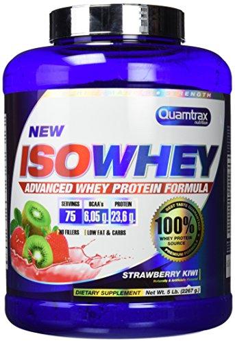 Quamtrax Nutrition Isowhey 5 Lb Suplementos de Proteínas con Aroma de Fresa y Kiwi - 2267 gr