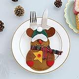LIMINL Christmas decorative gifts, Christmas table supplies, Christmas snowman knife and fork bag knife and fork set 6xpcs. 10 * 13cm Five-star moose