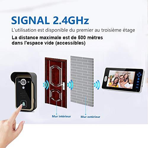 SIMBAILAI 7 Pouces Sonnette de Porte Interphone portier vidéo Couleur sans Fil avec Image mémoire Station,500 m de Distance,Instantané Mobile,la Fonction de Vision Nocturne,IP55,Surveillance Active
