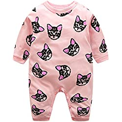 Domybest Pijama Monos de vestir para Recién nacido Bebé Niñas Niños Gato Algodón Manga Larga jumpsuits rosa tamaño para 6-12 M