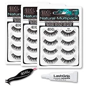 Ardell Fake Eyelashes Value Pack - Natural Multipack 101 (Black, 3-Pack), LashGrip Strip Adhesive, Dual Lash Applicator - Everything You Need For Perfect False Eyelashes by Ardell